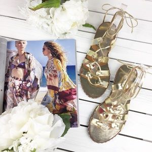 J. Crew Lace-Up Metallic Gold Gladiator Sandals